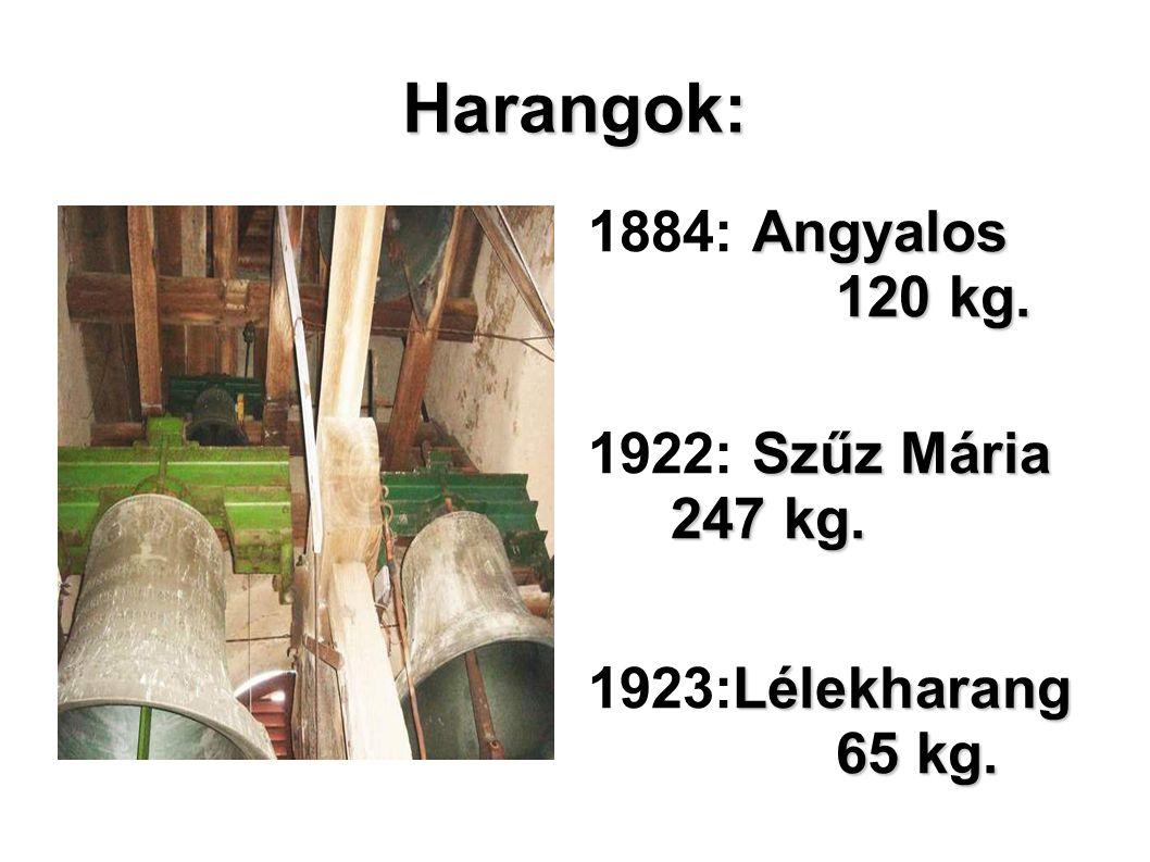 Harangok: 1884: Angyalos 120 kg. 1922: Szűz Mária 247 kg.