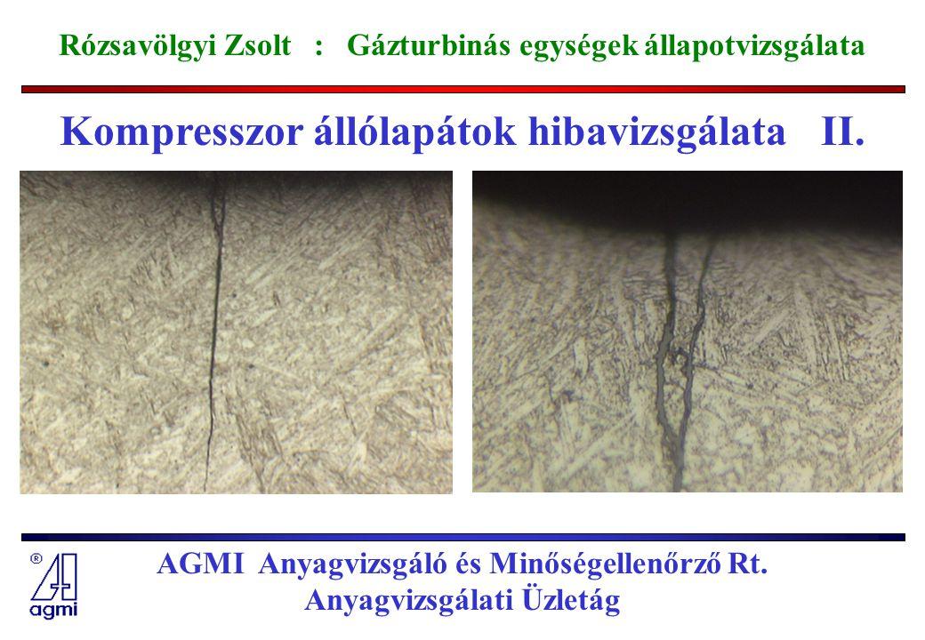 Kompresszor állólapátok hibavizsgálata II.