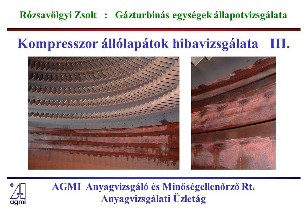 Kompresszor állólapátok hibavizsgálata III.