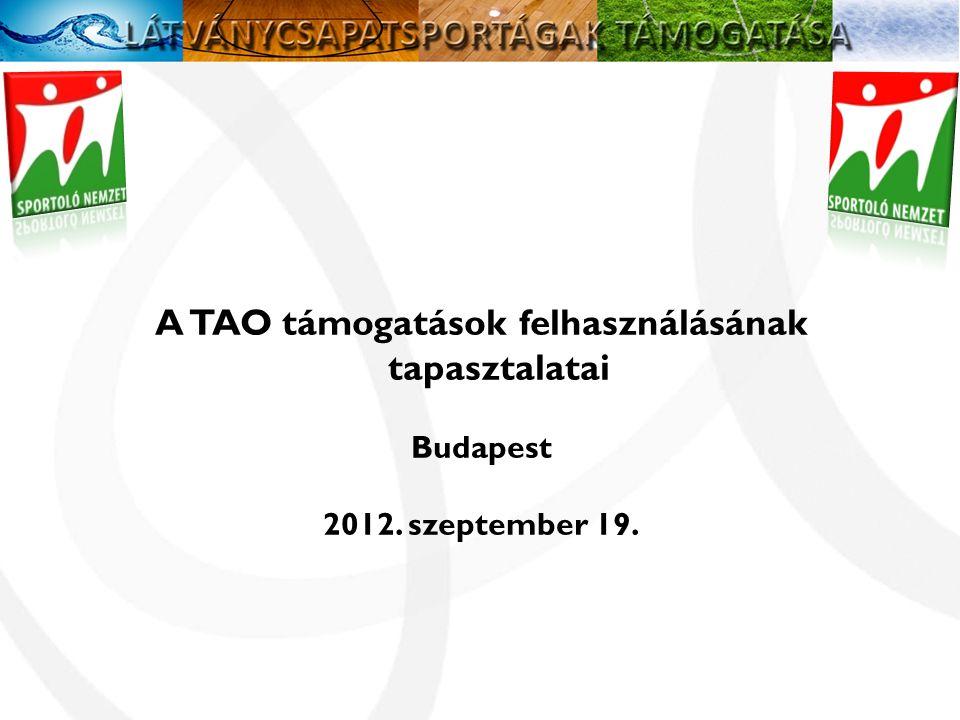 A TAO támogatások felhasználásának tapasztalatai