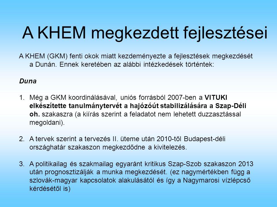 A KHEM megkezdett fejlesztései