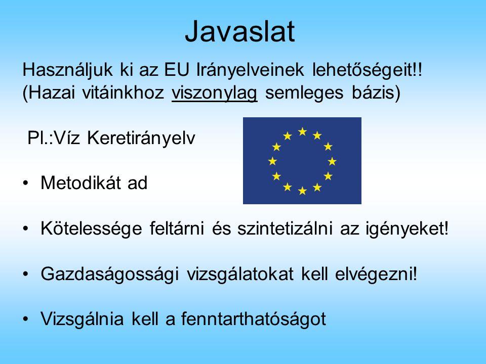 Javaslat Használjuk ki az EU Irányelveinek lehetőségeit!!