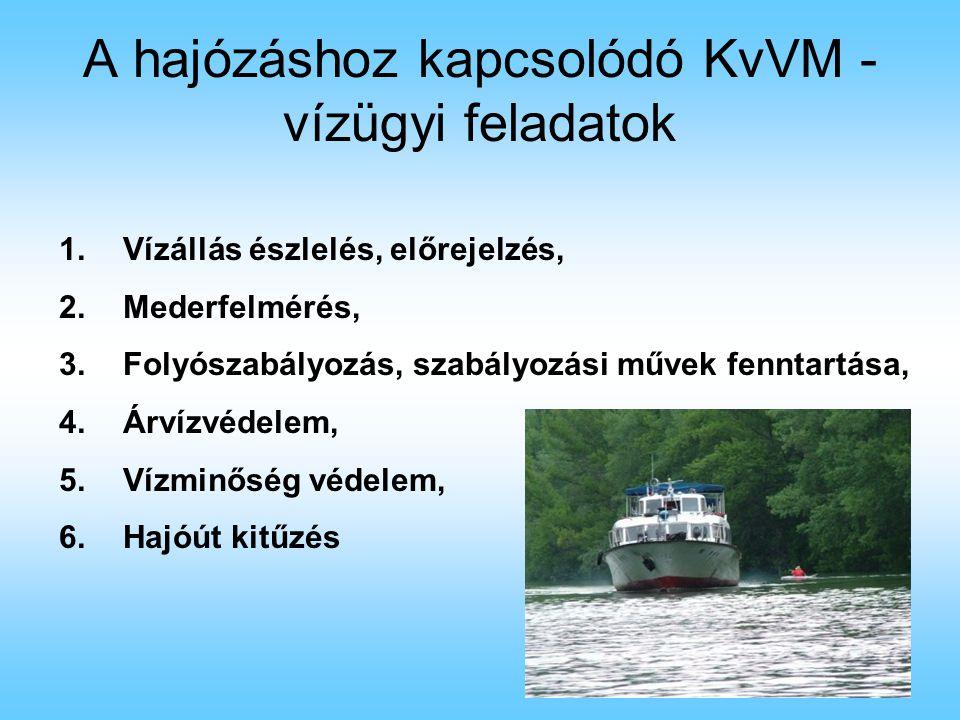A hajózáshoz kapcsolódó KvVM - vízügyi feladatok
