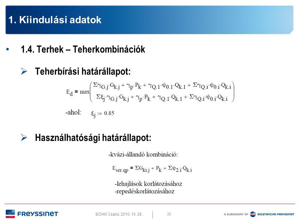 1. Kiindulási adatok 1.4. Terhek – Teherkombinációk.