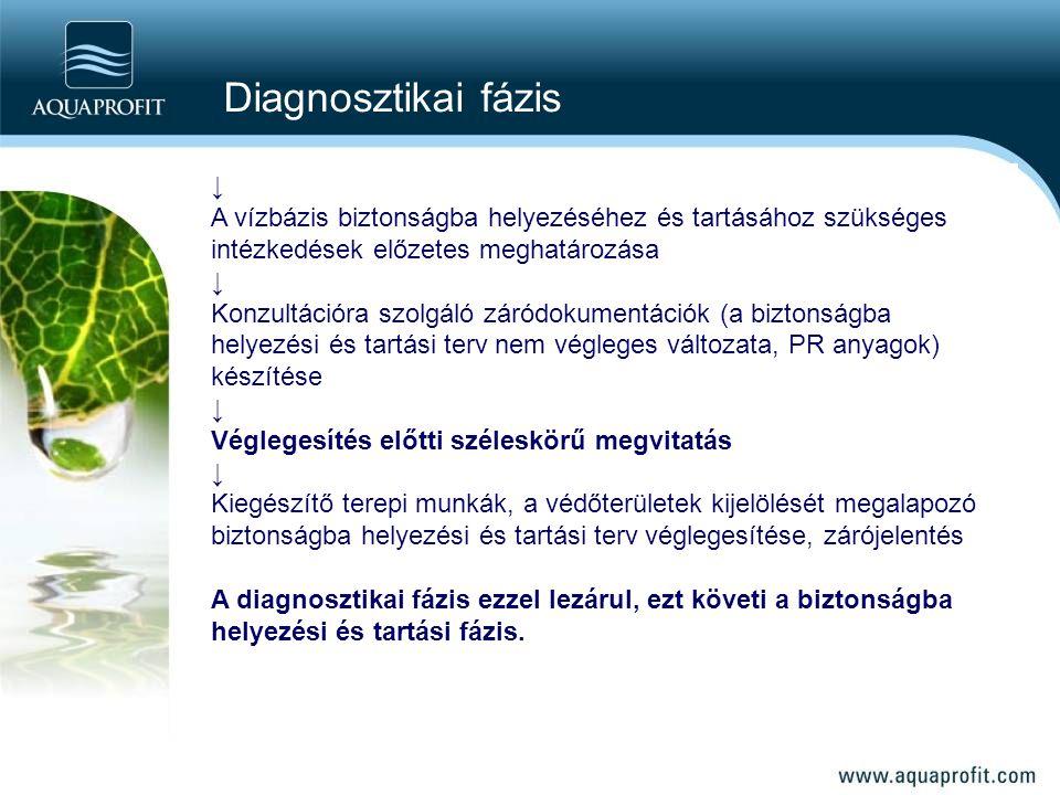 Diagnosztikai fázis ↓ A vízbázis biztonságba helyezéséhez és tartásához szükséges intézkedések előzetes meghatározása.