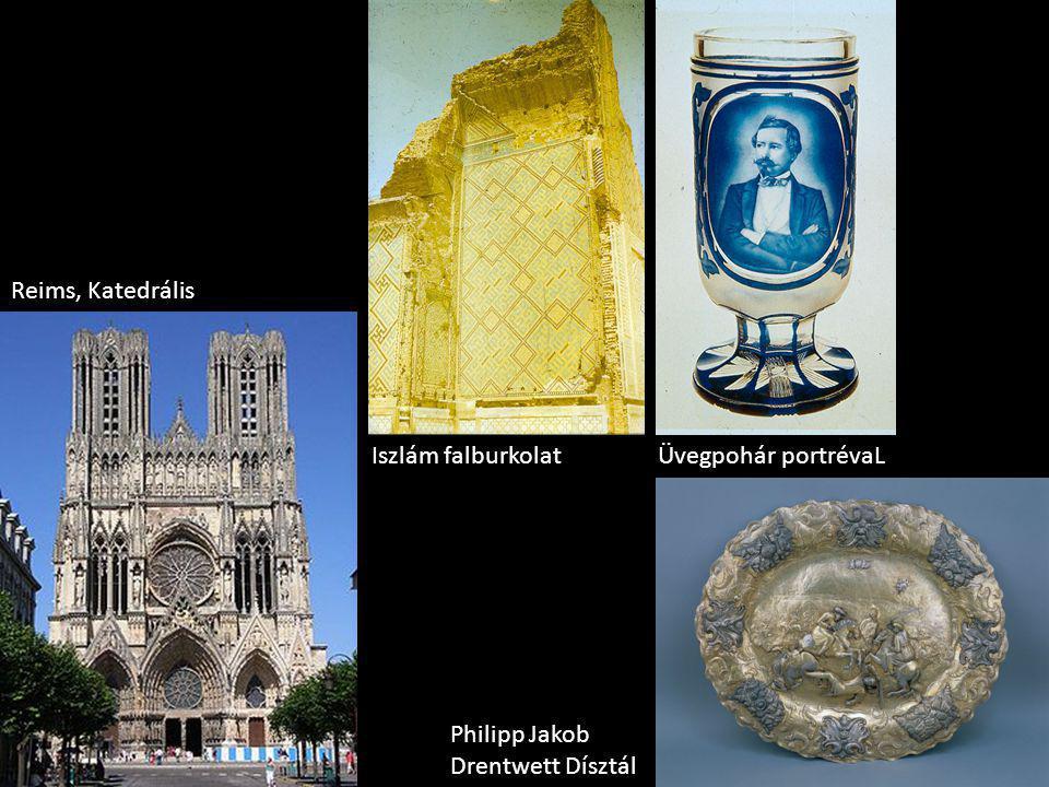 Reims, Katedrális Iszlám falburkolat Üvegpohár portrévaL Philipp Jakob Drentwett Dísztál