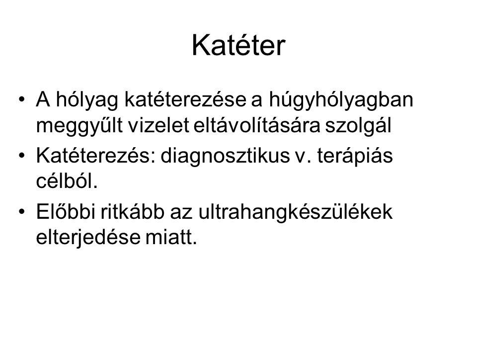 Katéter A hólyag katéterezése a húgyhólyagban meggyűlt vizelet eltávolítására szolgál. Katéterezés: diagnosztikus v. terápiás célból.