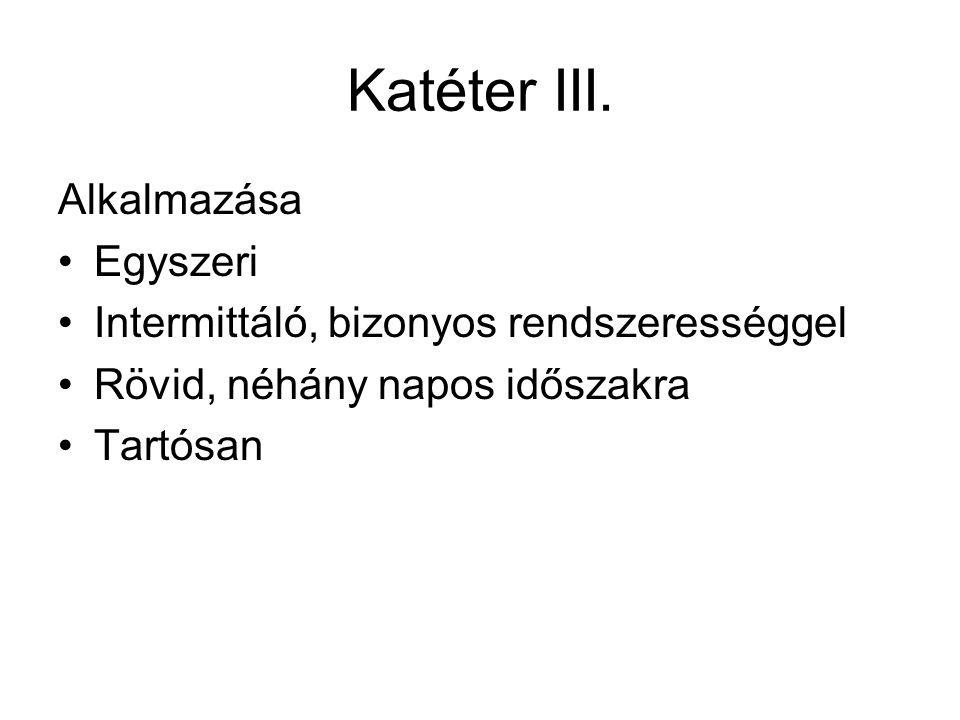 Katéter III. Alkalmazása Egyszeri