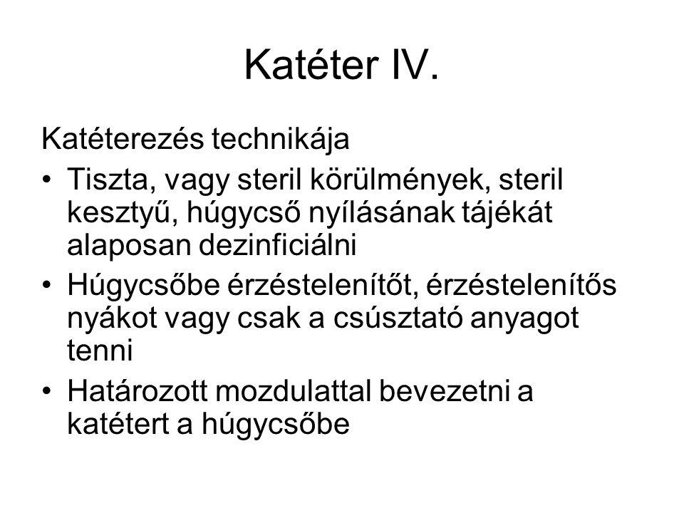 Katéter IV. Katéterezés technikája
