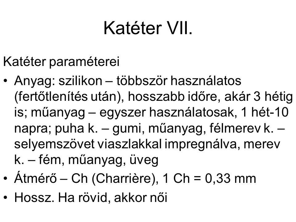 Katéter VII. Katéter paraméterei