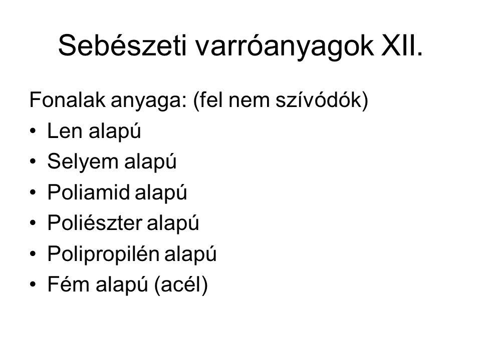 Sebészeti varróanyagok XII.