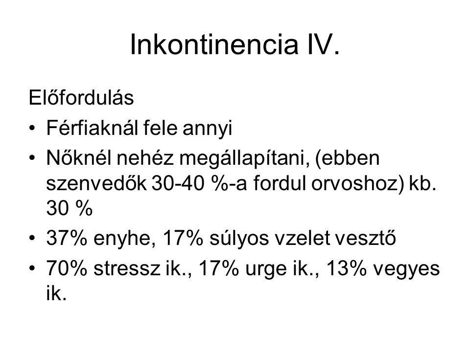 Inkontinencia IV. Előfordulás Férfiaknál fele annyi