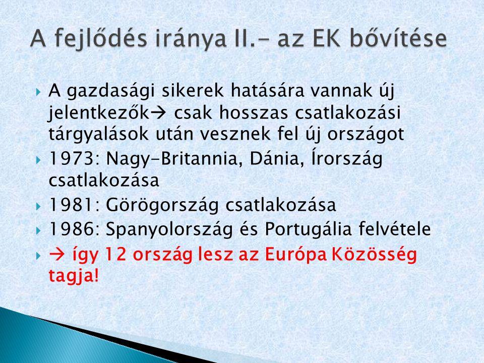 A fejlődés iránya II.- az EK bővítése