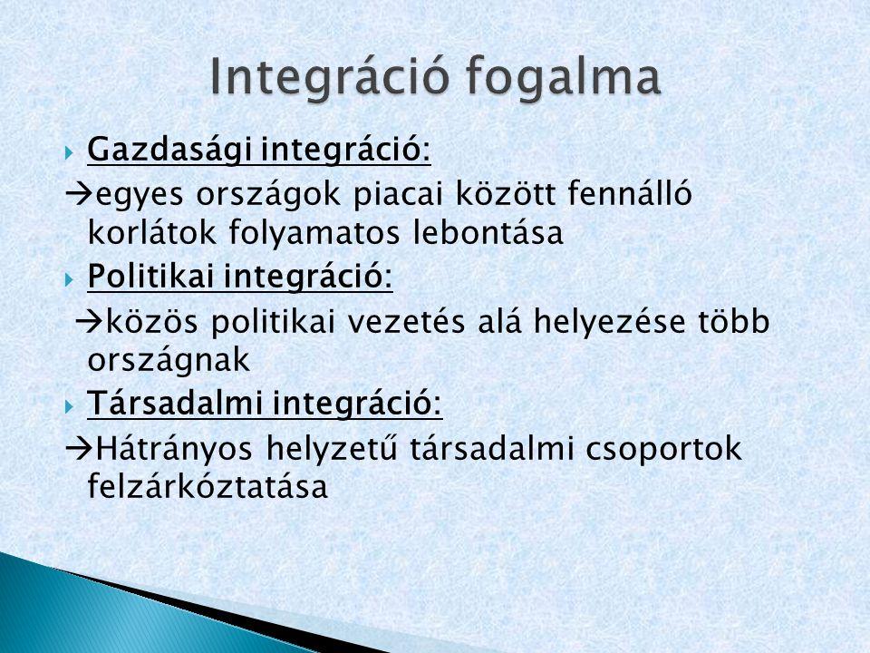 Integráció fogalma Gazdasági integráció: