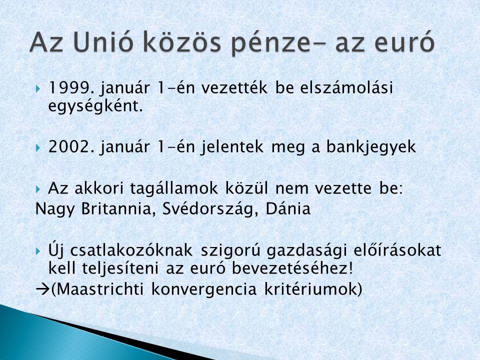 Az Unió közös pénze- az euró