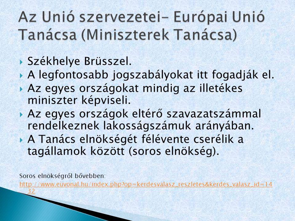 Az Unió szervezetei- Európai Unió Tanácsa (Miniszterek Tanácsa)