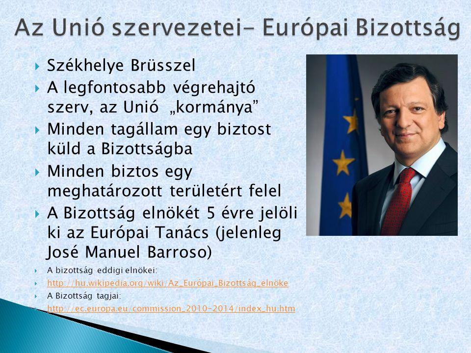 Az Unió szervezetei- Európai Bizottság