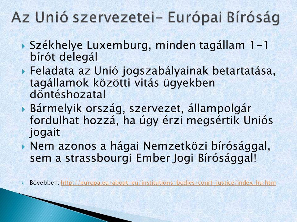 Az Unió szervezetei- Európai Bíróság