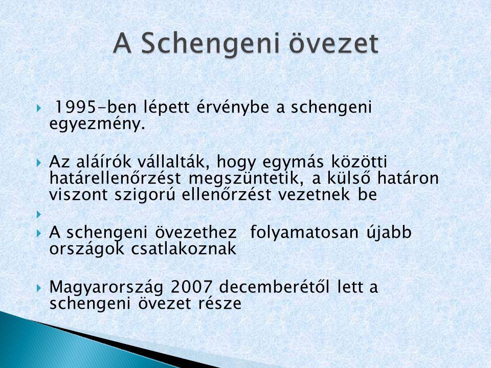 A Schengeni övezet 1995-ben lépett érvénybe a schengeni egyezmény.