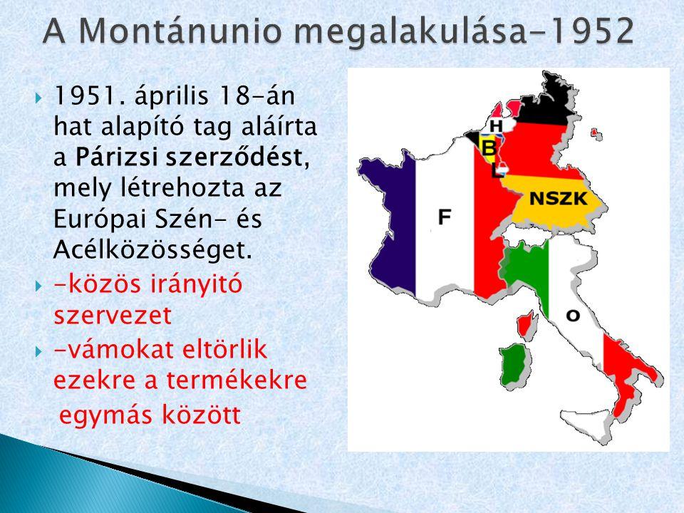 A Montánunio megalakulása-1952