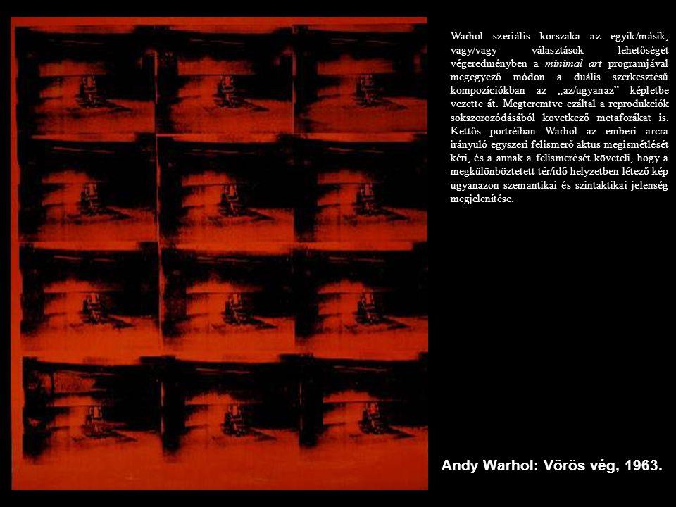 """Warhol szeriális korszaka az egyik/másik, vagy/vagy választások lehetőségét végeredményben a minimal art programjával megegyező módon a duális szerkesztésű kompozíciókban az """"az/ugyanaz képletbe vezette át. Megteremtve ezáltal a reprodukciók sokszorozódásából következő metaforákat is. Kettős portréiban Warhol az emberi arcra irányuló egyszeri felismerő aktus megismétlését kéri, és a annak a felismerését követeli, hogy a megkülönböztetett tér/idő helyzetben létező kép ugyanazon szemantikai és szintaktikai jelenség megjelenítése."""