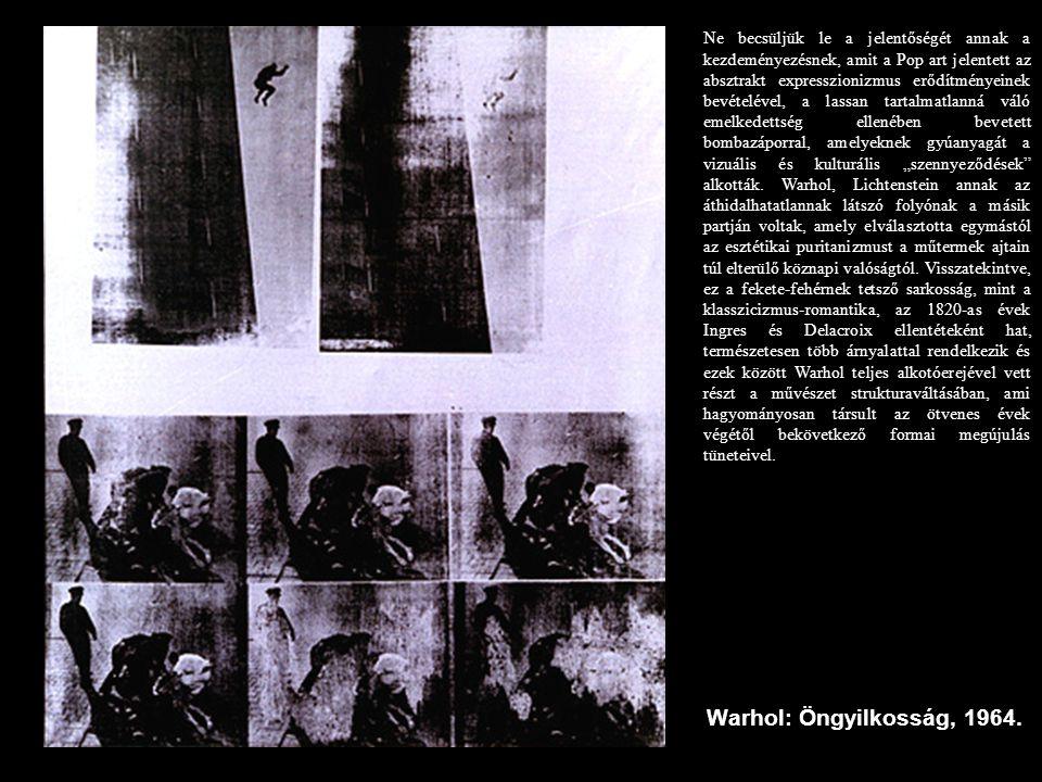 """Ne becsüljük le a jelentőségét annak a kezdeményezésnek, amit a Pop art jelentett az absztrakt expresszionizmus erődítményeinek bevételével, a lassan tartalmatlanná váló emelkedettség ellenében bevetett bombazáporral, amelyeknek gyúanyagát a vizuális és kulturális """"szennyeződések alkották. Warhol, Lichtenstein annak az áthidalhatatlannak látszó folyónak a másik partján voltak, amely elválasztotta egymástól az esztétikai puritanizmust a műtermek ajtain túl elterülő köznapi valóságtól. Visszatekintve, ez a fekete-fehérnek tetsző sarkosság, mint a klasszicizmus-romantika, az 1820-as évek Ingres és Delacroix ellentéteként hat, természetesen több árnyalattal rendelkezik és ezek között Warhol teljes alkotóerejével vett részt a művészet strukturaváltásában, ami hagyományosan társult az ötvenes évek végétől bekövetkező formai megújulás tüneteivel."""