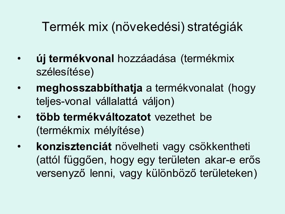 Termék mix (növekedési) stratégiák