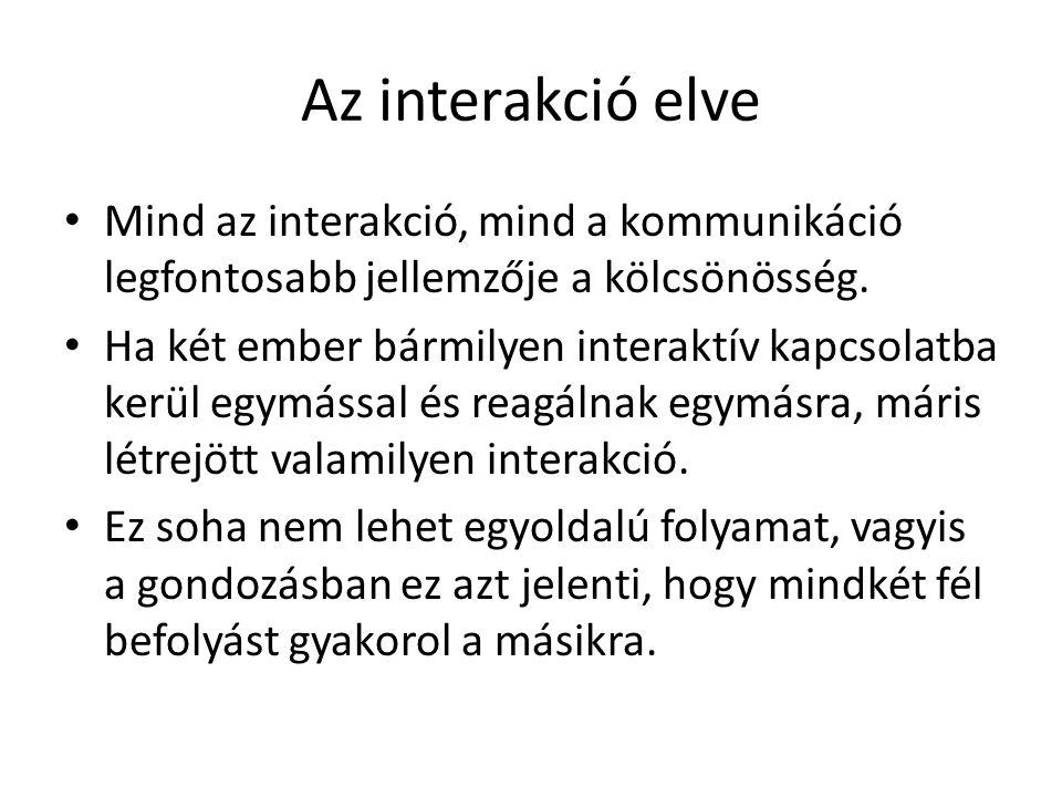 Az interakció elve Mind az interakció, mind a kommunikáció legfontosabb jellemzője a kölcsönösség.