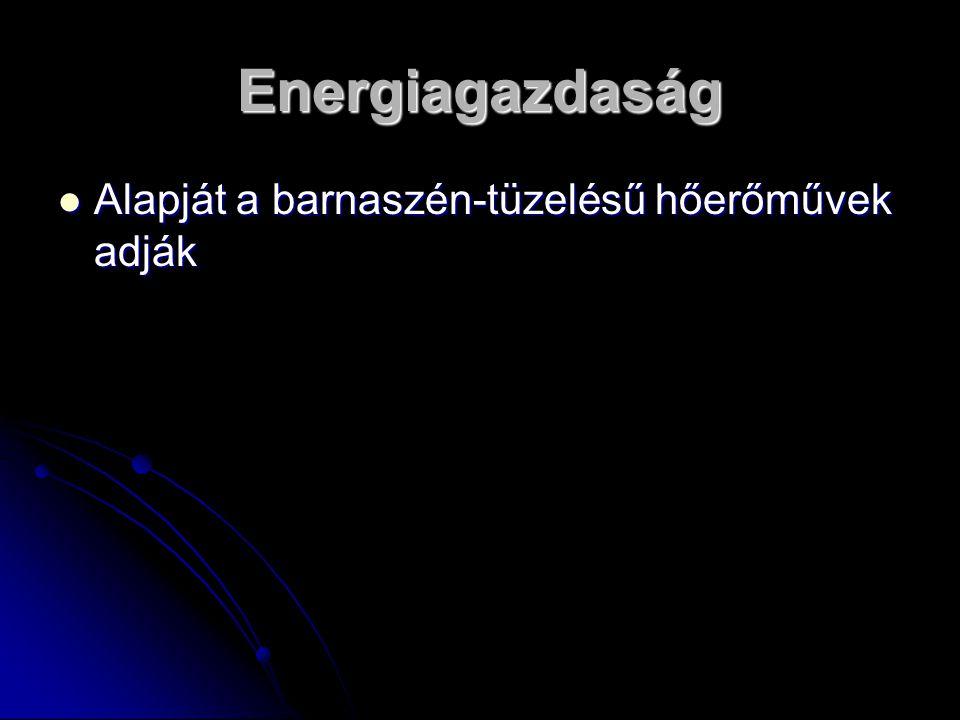 Energiagazdaság Alapját a barnaszén-tüzelésű hőerőművek adják