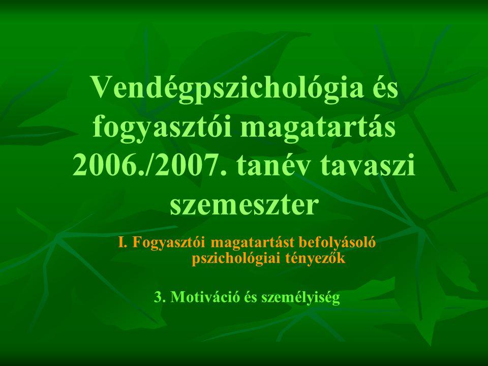 Vendégpszichológia és fogyasztói magatartás 2006. /2007