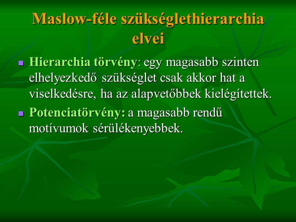 Maslow-féle szükséglethierarchia elvei