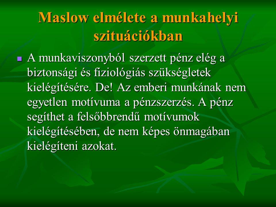 Maslow elmélete a munkahelyi szituációkban