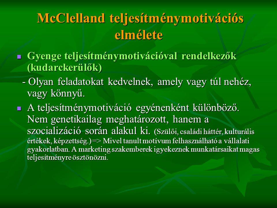 McClelland teljesítménymotivációs elmélete