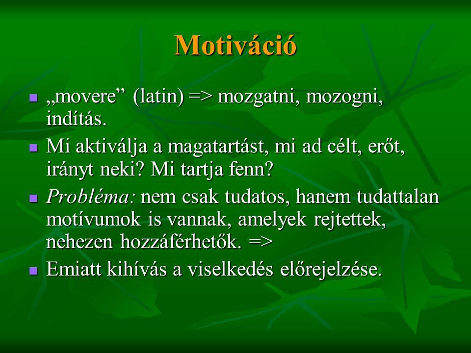 """Motiváció """"movere (latin) => mozgatni, mozogni, indítás."""