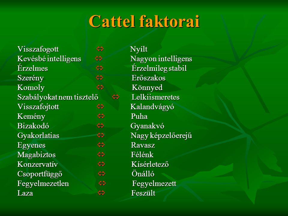 Cattel faktorai Visszafogott  Nyílt