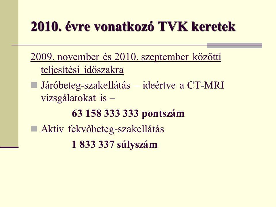 2010. évre vonatkozó TVK keretek