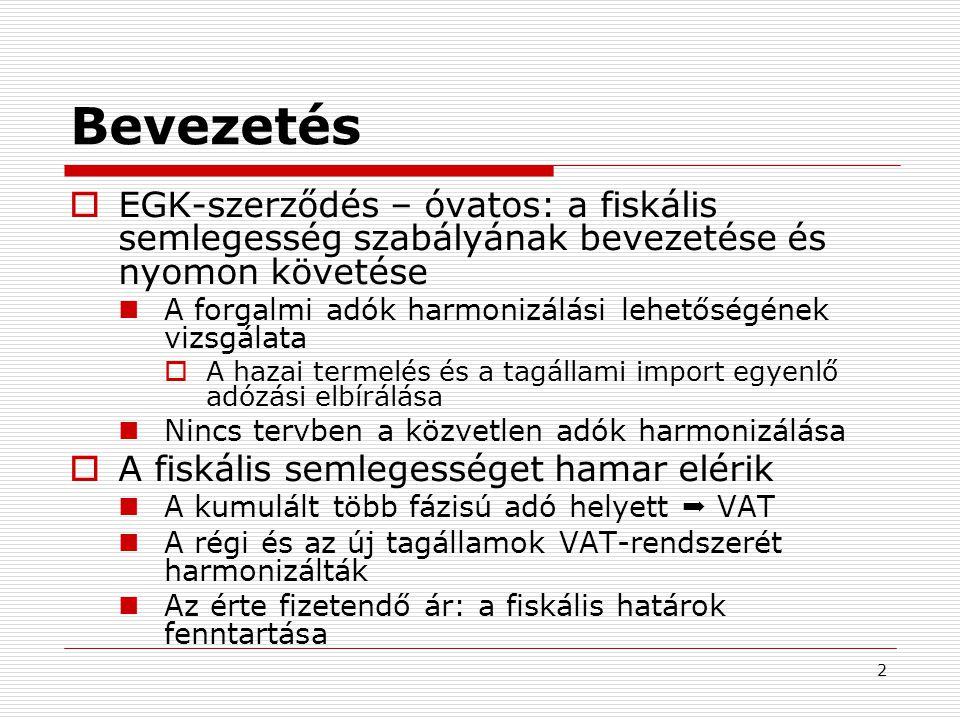 Bevezetés EGK-szerződés – óvatos: a fiskális semlegesség szabályának bevezetése és nyomon követése.