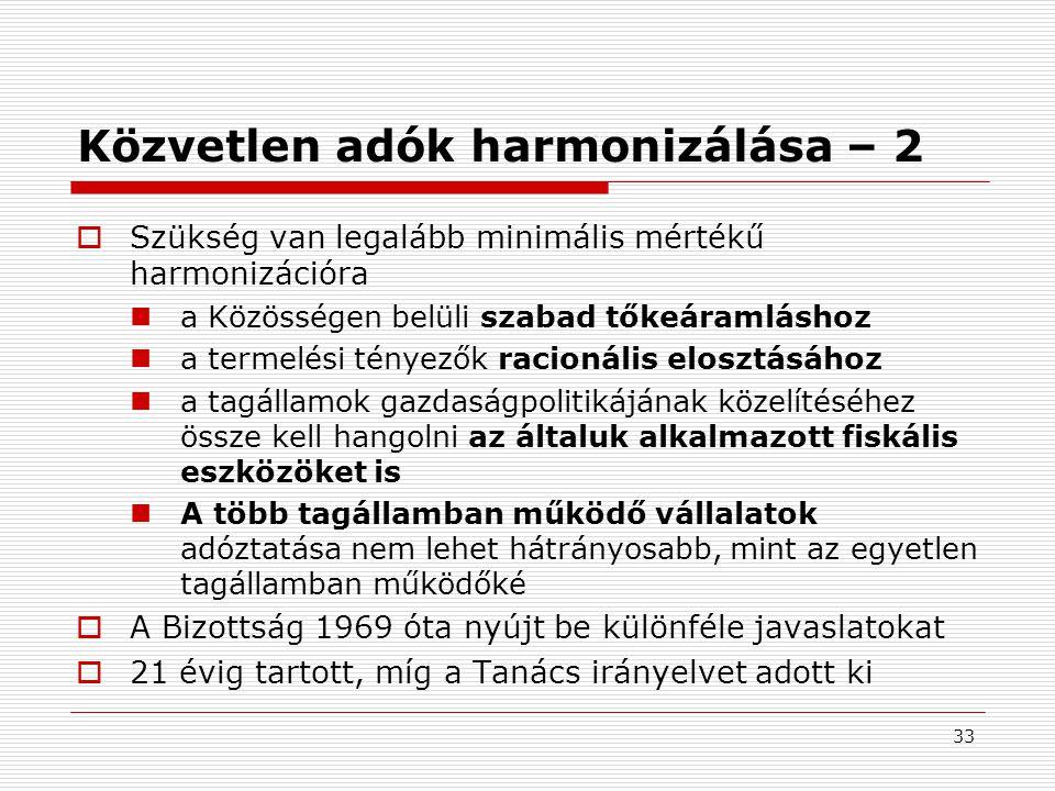 Közvetlen adók harmonizálása – 2