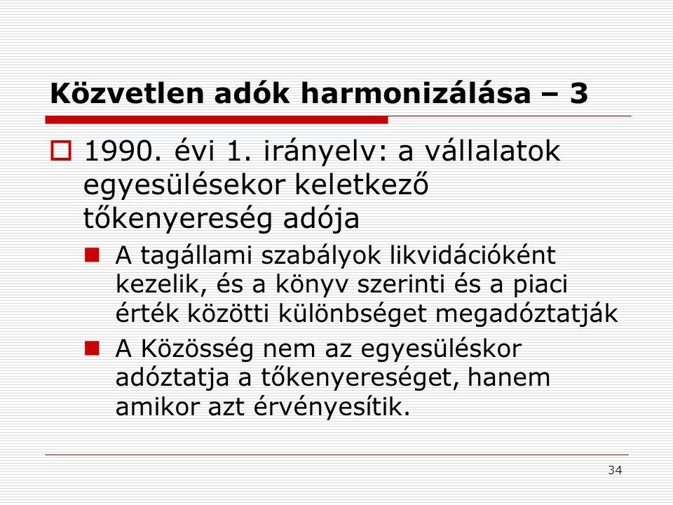 Közvetlen adók harmonizálása – 3