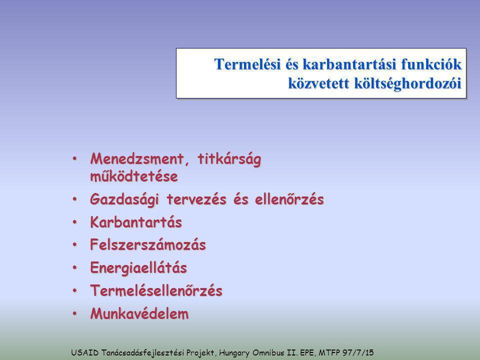 Külső logisztikai funkciók közvetett költséghordozói