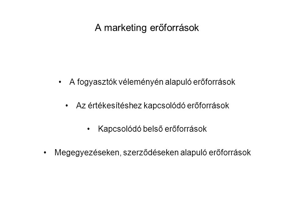 A marketing erőforrások