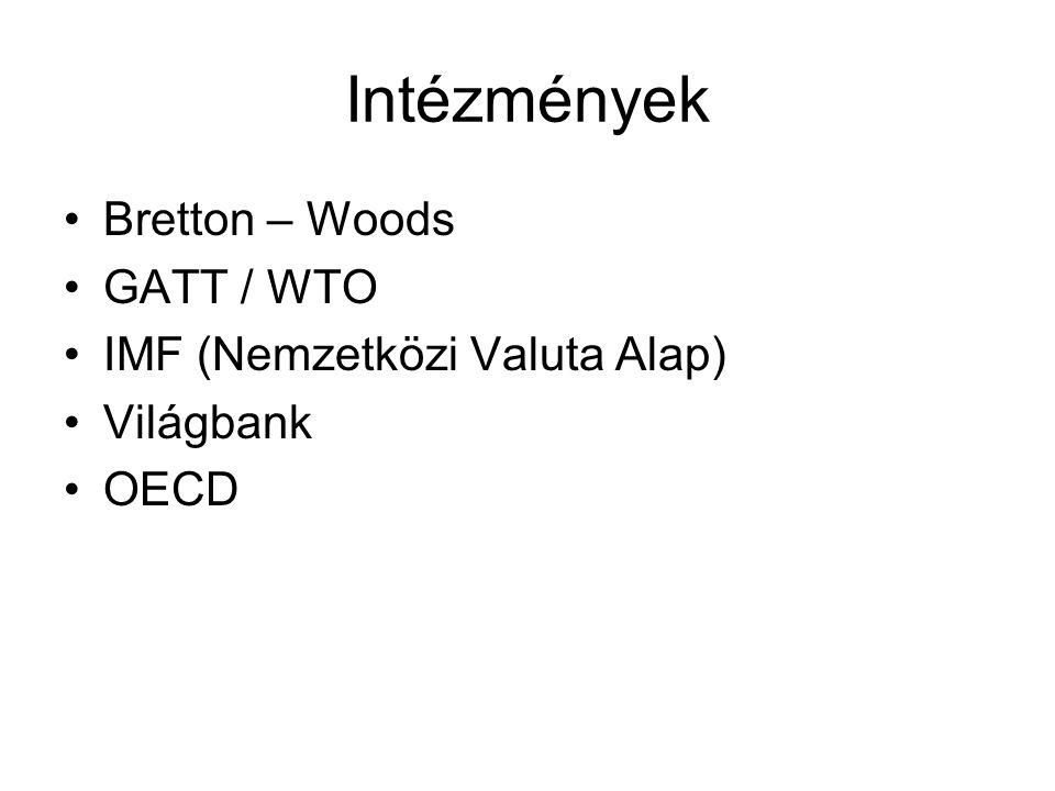 Intézmények Bretton – Woods GATT / WTO IMF (Nemzetközi Valuta Alap)