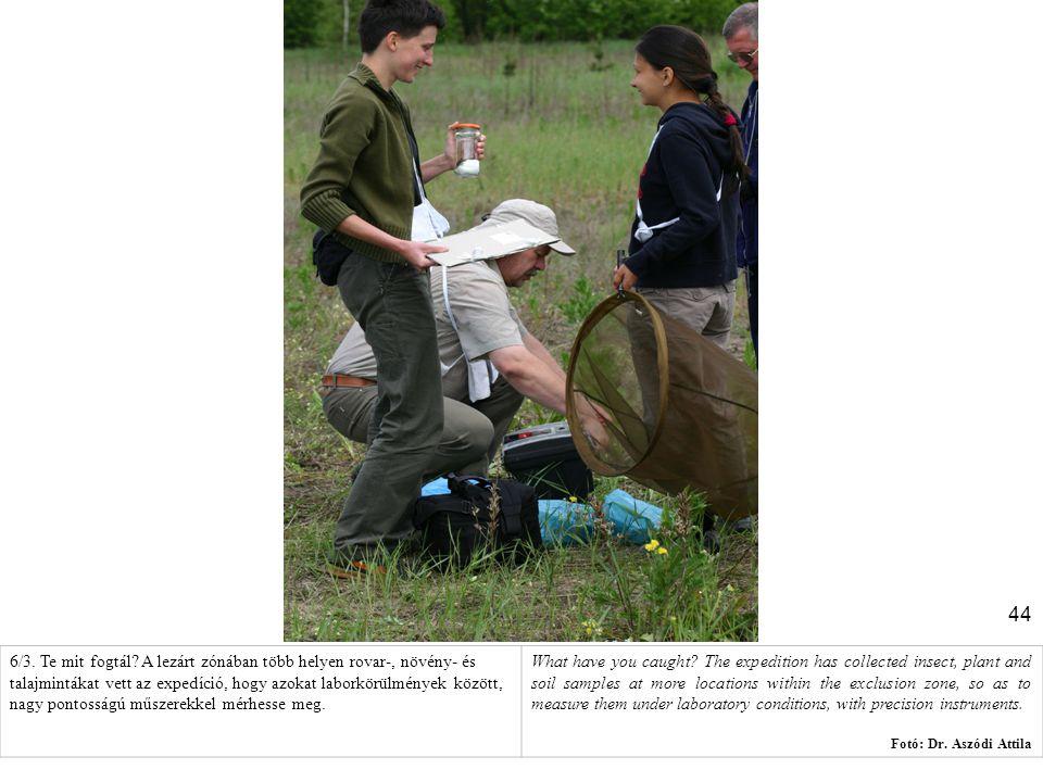 6/3. Te mit fogtál A lezárt zónában több helyen rovar-, növény- és talajmintákat vett az expedíció, hogy azokat laborkörülmények között, nagy pontosságú műszerekkel mérhesse meg.