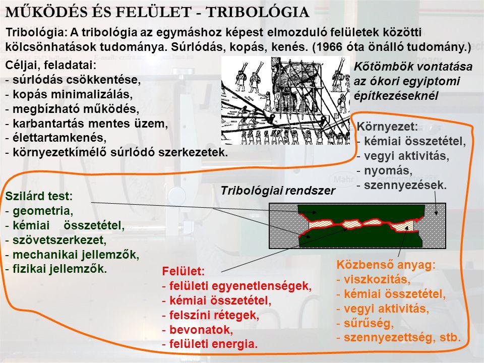MŰKÖDÉS ÉS FELÜLET - TRIBOLÓGIA