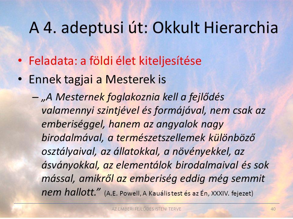 A 4. adeptusi út: Okkult Hierarchia