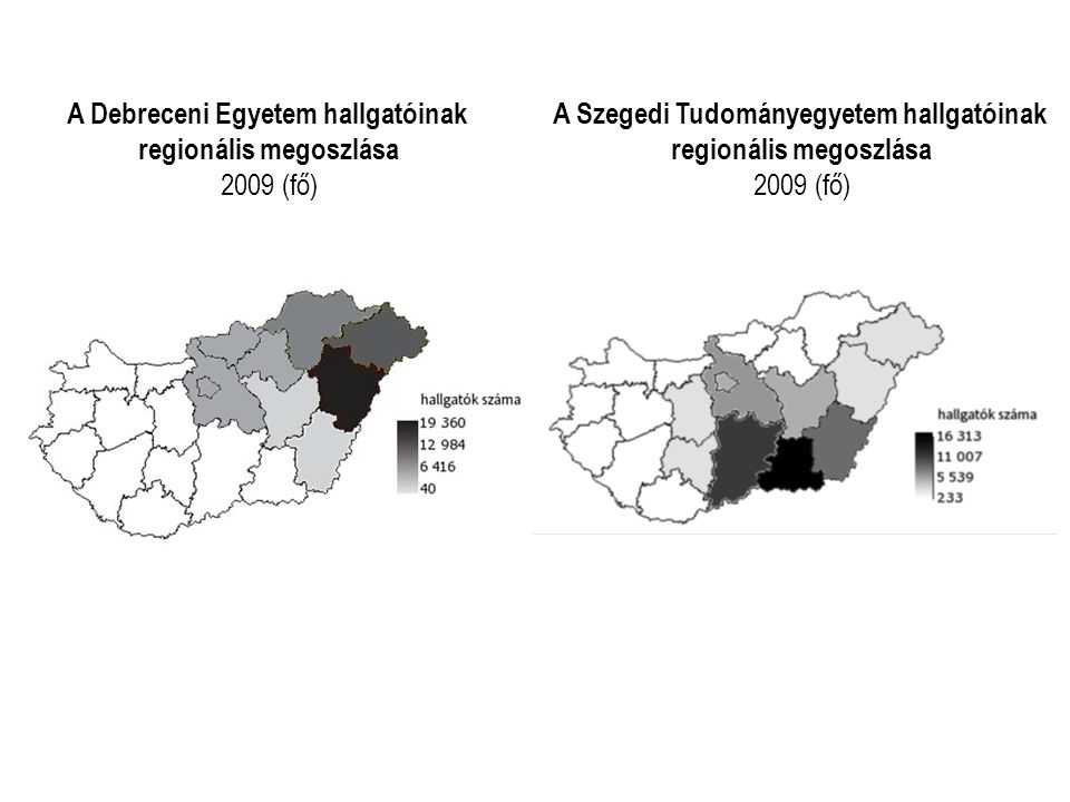 A Debreceni Egyetem hallgatóinak regionális megoszlása 2009 (fő)