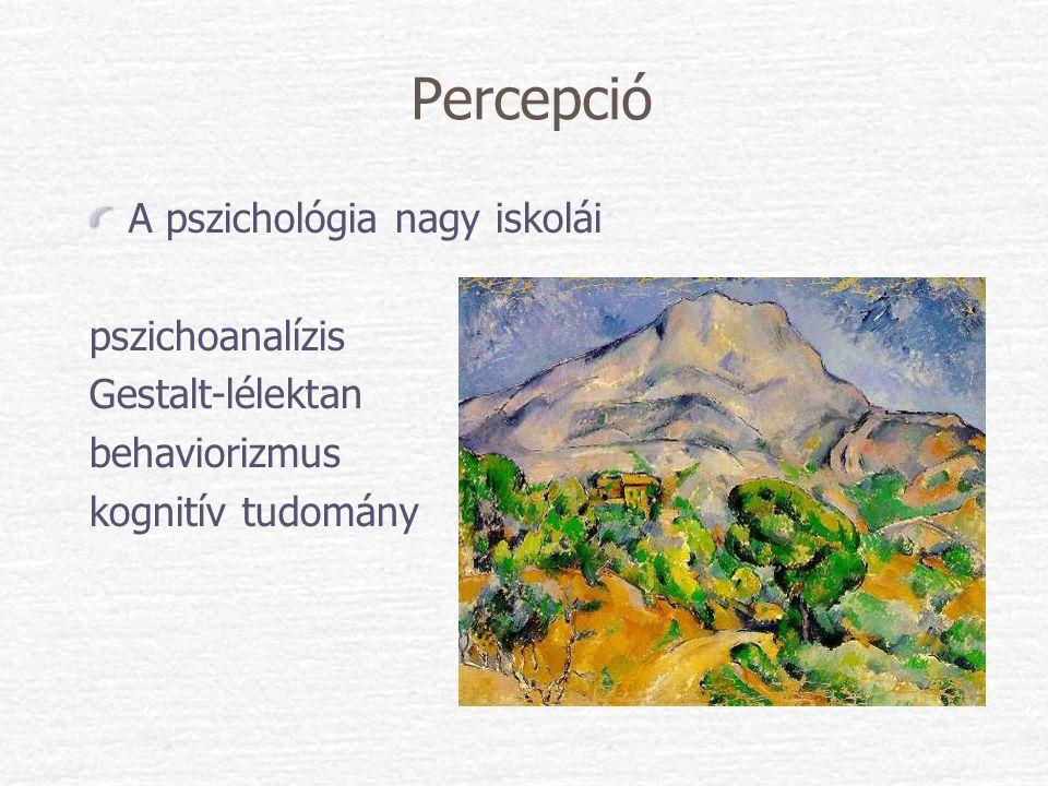 Percepció A pszichológia nagy iskolái pszichoanalízis Gestalt-lélektan