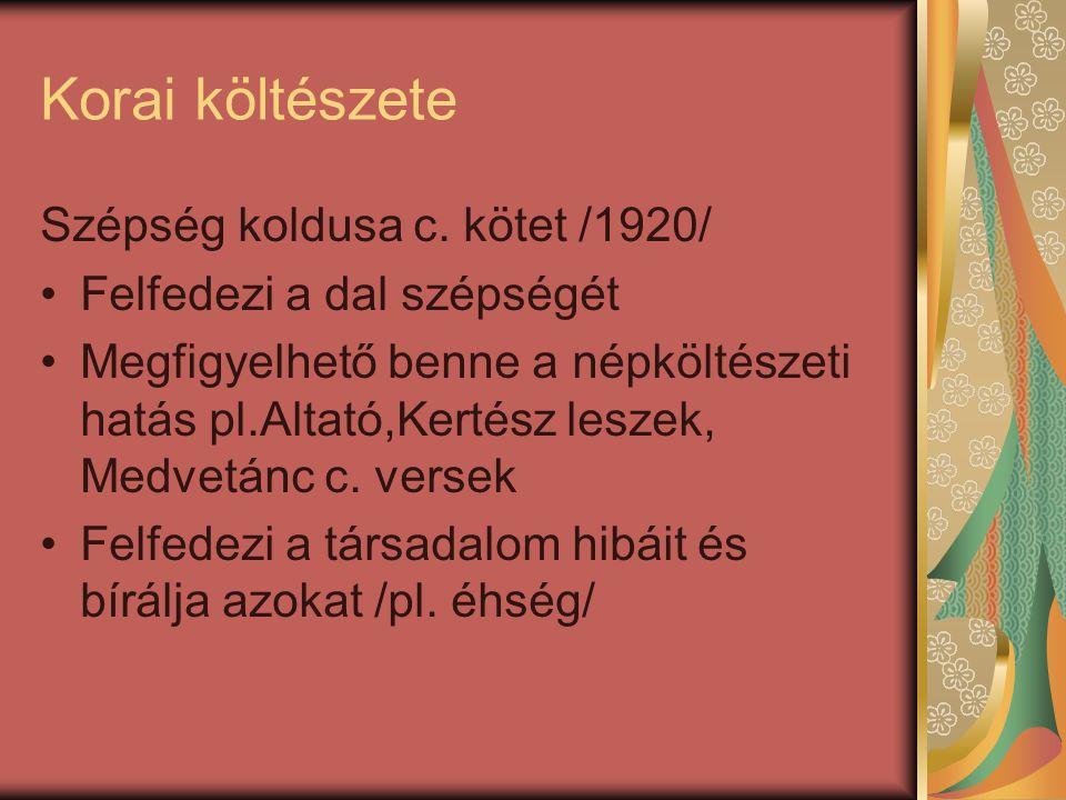 Korai költészete Szépség koldusa c. kötet /1920/
