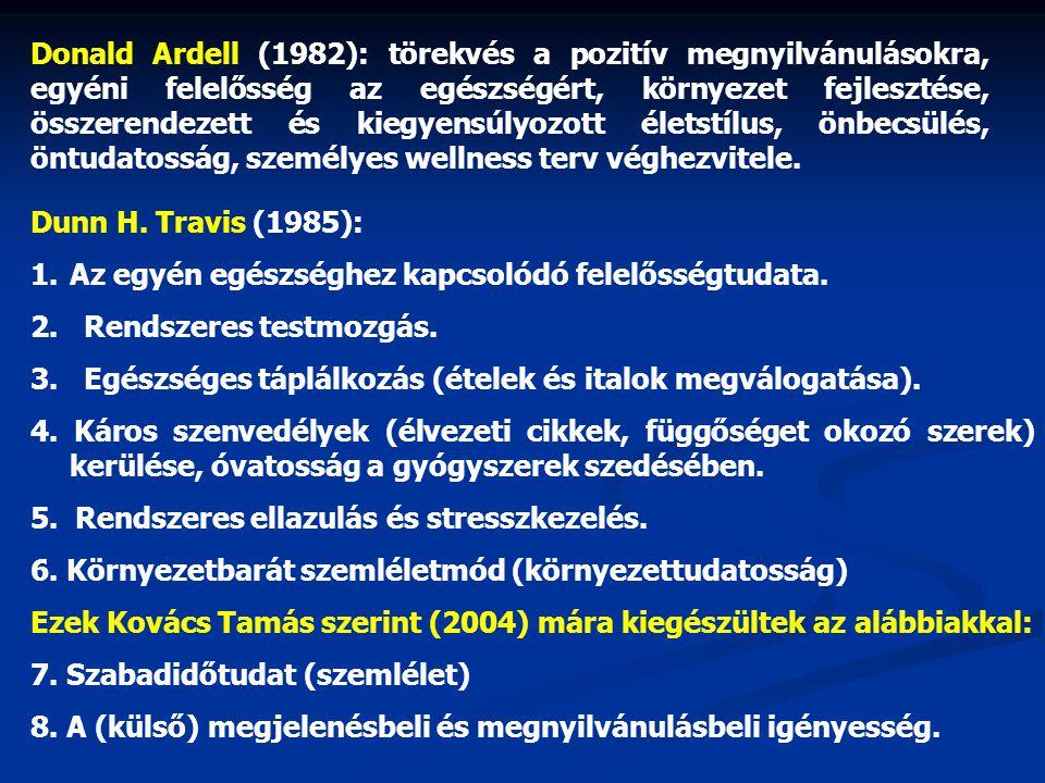 Donald Ardell (1982): törekvés a pozitív megnyilvánulásokra, egyéni felelősség az egészségért, környezet fejlesztése, összerendezett és kiegyensúlyozott életstílus, önbecsülés, öntudatosság, személyes wellness terv véghezvitele.