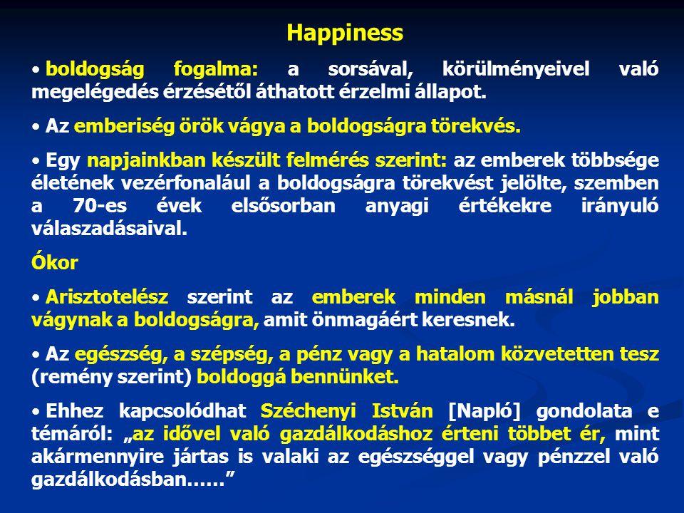 Happiness boldogság fogalma: a sorsával, körülményeivel való megelégedés érzésétől áthatott érzelmi állapot.